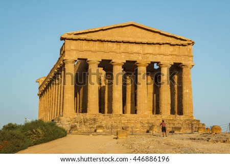 Ruins of the temples in the ancient city of Agrigento, Sicily, Italy