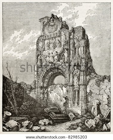 Ruins of the Usrsuline convent in Burgos, Spain. Created by Wiesner, published on Magasin Pittoresque, Paris, 1840