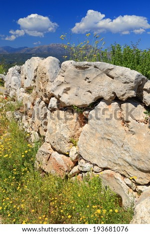 Ruins of the wall of Mycenae, one of the major centers of Greek civilization, Peloponnese, Greece