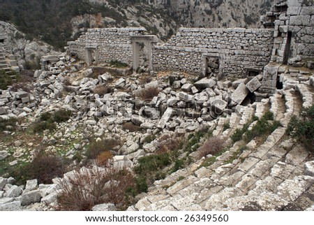 Ruins of theater in Termessos near Antalya