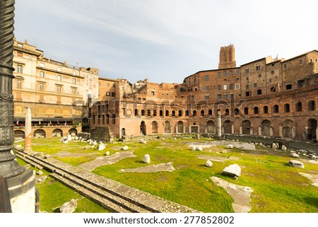 Ruins of Trajan's Forum (Forum Traiani) constructed by Apollodorus of Damascus in ancient Roman Empire, Rome, Italy