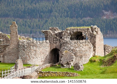Ruins of Urquhart Castle at Loch Ness Inverness Highlands Scotland UK - stock photo