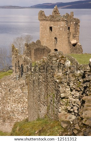 ruins of Urquhart Castle, one of Scotlands largest, at Loch Ness, owned and blownup in 1692 by the Clan Grant to stop it becoming a Jacobite stronghold. - stock photo