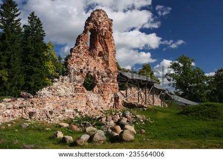 Ruins of Viljandi castle, Estonia - stock photo