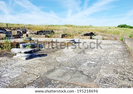 Ruins of villa Pisoes, Portugal - stock photo
