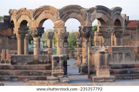 ruins of Zvartnots near Yerevan in Armenia - stock photo