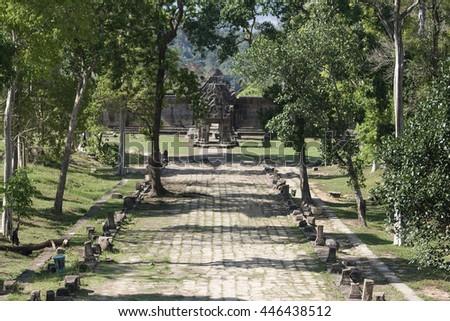 Ruins on Preah Vihear Temple in Cambodia - stock photo