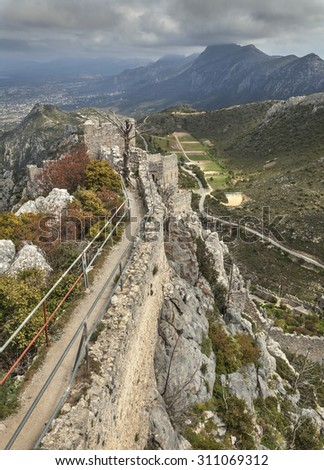 Ruins on the top of St. Hilarion castle near Kyrenia (Girne), North Cyprus - stock photo