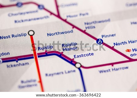 Ruislip Station on a map of the Piccadilly metro line in London, UK. - stock photo