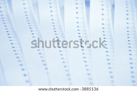 Ruler abstract background. Blue tint and low dof. - stock photo