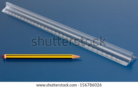 ruler and pencil - stock photo