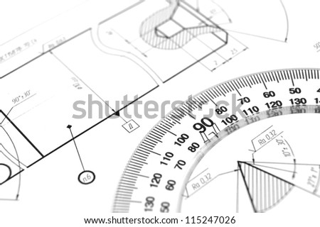 Ruler and the drawing . - stock photo