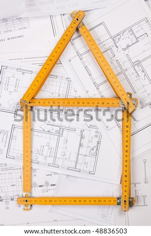Ruler home shape - stock photo