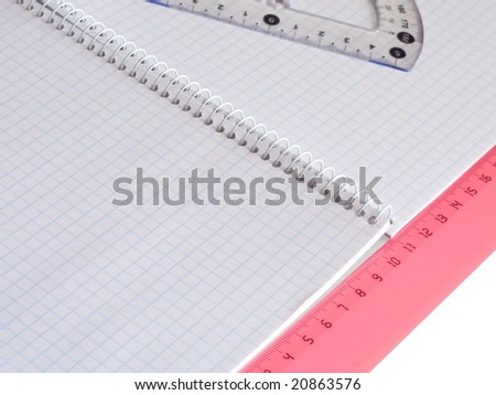 ruler on squared sheet of a copybook