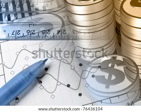 Ruler, pen and coins - collage about reporting, blue and sepia. - stock photo