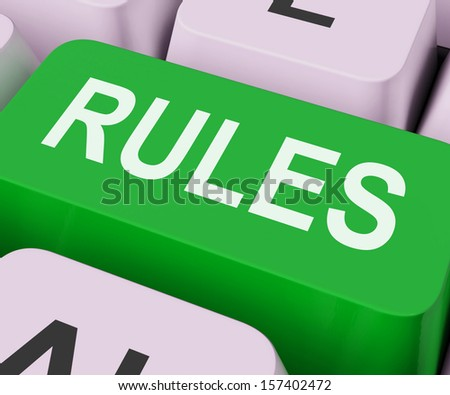 Rules Keys Showing Guidance Policy Or Regulations - stock photo