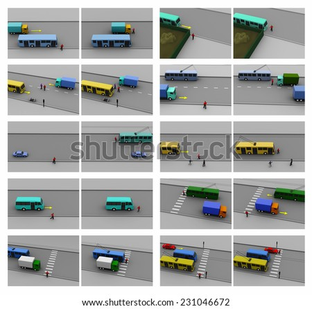 Rules of the road, different situations, accidents, training - stock photo