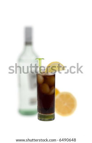 rum and coke isolated on a white background - stock photo