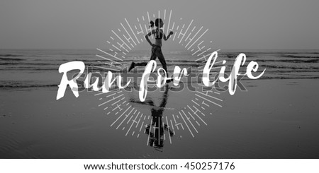 Run Hurry Activity Rush Speed Sprint Exercise Fit Concept - stock photo