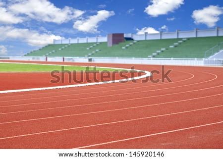 Run race track in sport stadium - stock photo