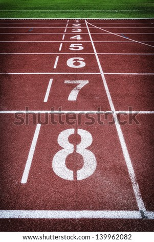 Run race track in sport stadium vintage style - stock photo