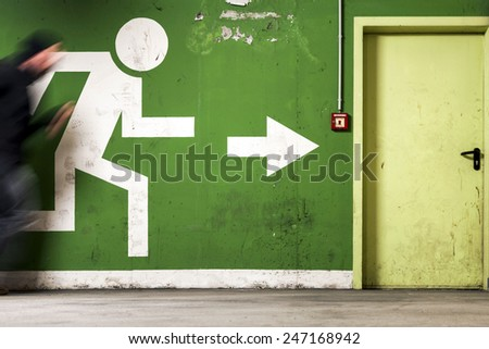 Run to Exit - stock photo