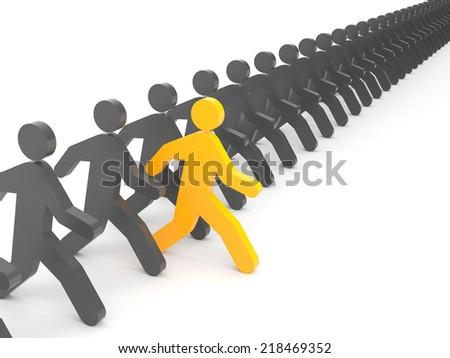 Run to new opportunities. Leadership - stock photo