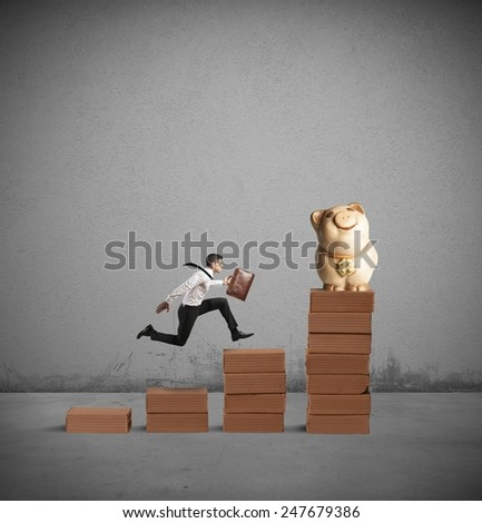 Run to success and earn more money - stock photo