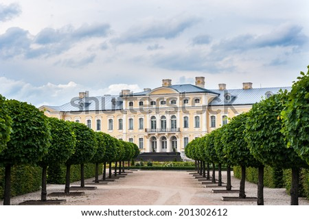 Rundale palace, summer Residence of the Duke of Courland Ernst Johann Biron. It was built in 1740. Architect: Francesco Bartolomeo Rastrelli.