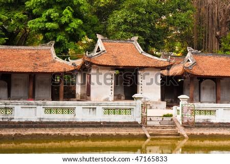 Rundown Buildings at the Temple of Literature in Hanoi, Vietnam. - stock photo