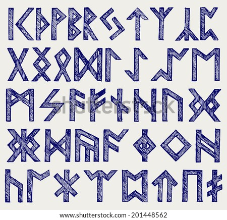 Runic script. Doodle style. Raster version - stock photo