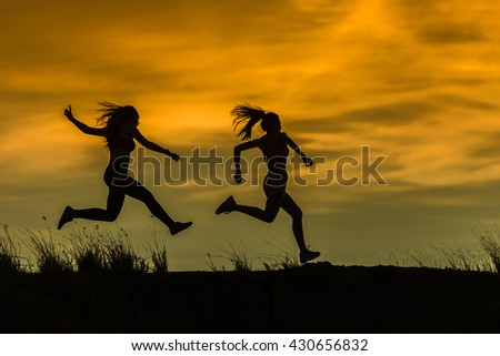 Runner athlete running on trail. woman fitness jogging workout wellness concept. - stock photo