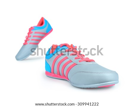 Runner feet running on road closeup on shoe. run empty of sneakers isolated on white background