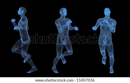 Runner man in 3d vision - stock photo
