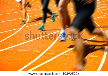 Runner on competitive running - stock photo