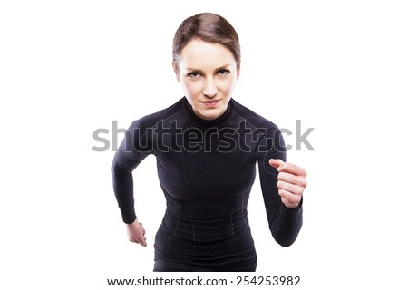 Runner woman isolated. Running fit fitness sport model jogging smiling happy isolated on white background. Fitness girl training. - stock photo