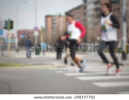 Runners background. Intentionally blurred post production.
