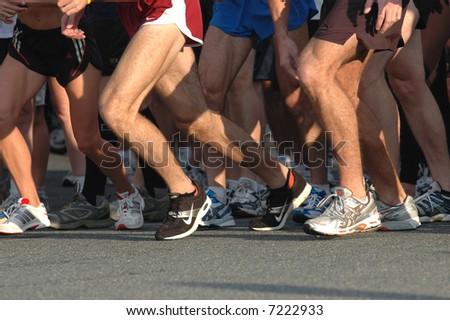 Runners' Feet at Start of Race - stock photo