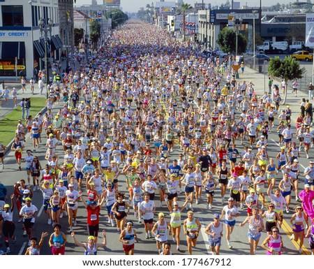 Runners in Los Angeles Marathon, California - stock photo