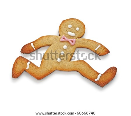 Running away,The Gingerbread Man. - stock photo