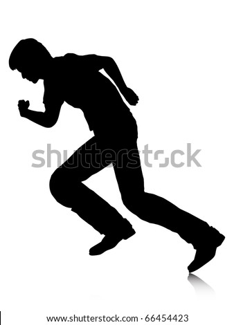 Black Silhouettes Breakdancer On White Background Stock ...