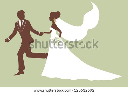 Running bride and groom in profile
