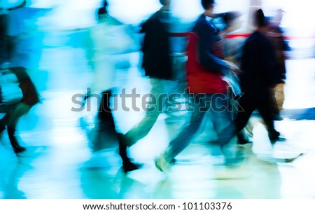 running business people abstract background - stock photo