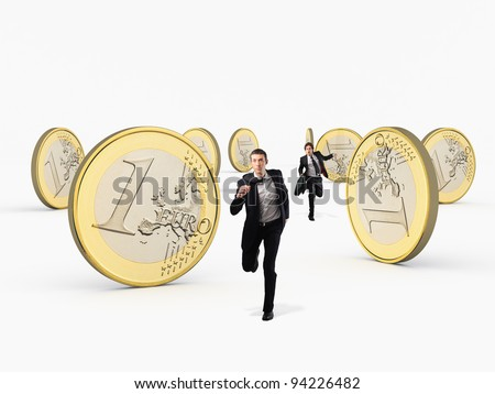 running business people and 3d huge euro coin - stock photo