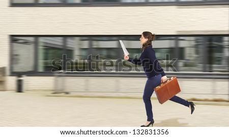 running business woman - stock photo