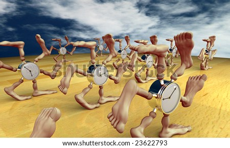 Running clocks with lots of legs and feet - stock photo