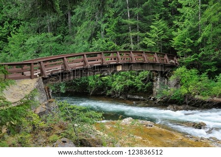 running creek  and bridge in little qualicum falls, vancouver island, bc, canada