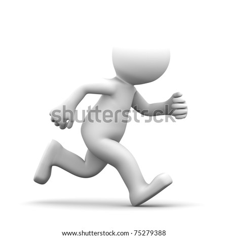 Running 3d puppet. Isolated on white background - stock photo