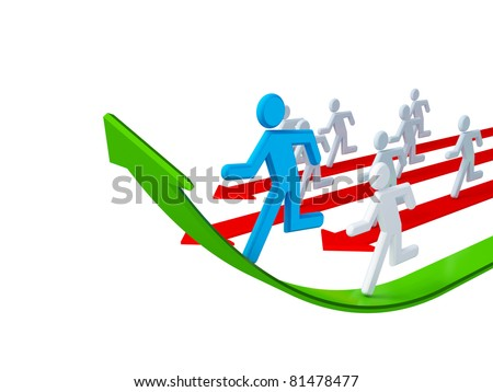 Running 3d small people. 3d rendered. Isolated on white background. - stock photo