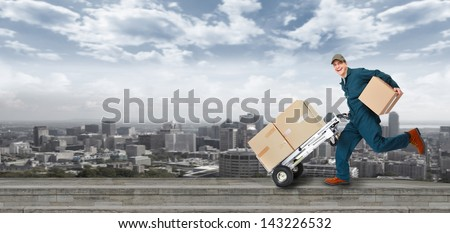Running Delivery postman. Shipping and transportation service. - stock photo